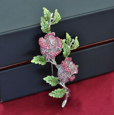 HUGE 4 1/4'' PINK ROSES GREEN  STEM BROOCH MADE WITH SWAROVSKI CRYSTALS NEW
