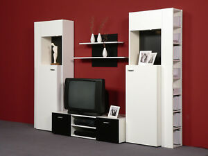 Wohnwand Anbauwand Weiß Schwarz - Top Design und Optik mit Beleuchtung