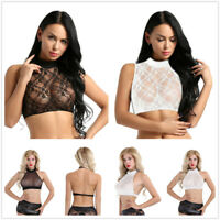 Sexy Women Turtleneck See Through Floral Lace Tank Crop Top Blouse Shirt T-shirt