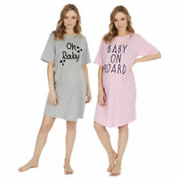 Women Maternity Nightie Night Dress Shirt Tee Pyjama Cute Summer Pregnancy Gift