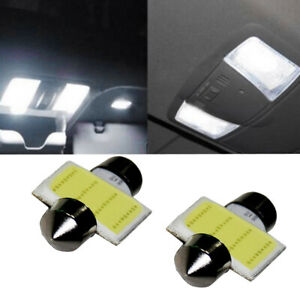 2× White 31mm COB LED SUV Car Interior Dome Map Reading Light Bulbs Accessories