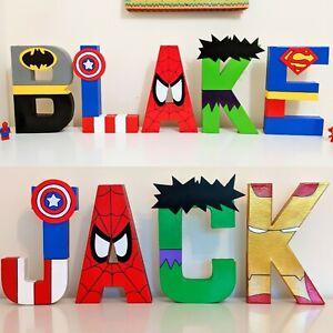 Childrens personalised letters Marvel name. Avengers superhero boys batman wall