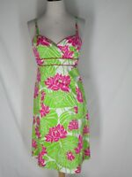 Lilly Pulitzer Floral Cotton Sun Dress 4 Hot Pink Green White
