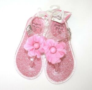 Stepping Stones Girls Sandals Shoes Size 8 Pink Glitter Jelly Baby Flower New