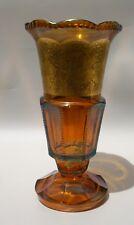 Antique 1920-30 Art Deco Czech Moser Glass Vase Caramel Brown Warriors