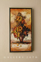 WOW! MID CENTURY MODERN FLOWERS ORIG.OIL PAINTING! VTG 63 ART GORGEOUS IMPASTO!