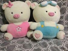 "Hannari Tofu Japanese Plush Two Pigs Boy And Girl 18"" (0)"