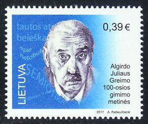 Lithuania 2017 MNH Algirdas Julien Greimas French-Lithuanian literary scientist