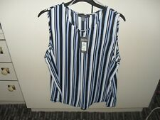 LADIES SIZE 16 TOP FROM PRIMARK NEW WITH TAG BLUE WHITE STRIPE