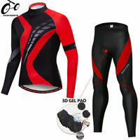Men's Cycling Jersey Pants Set long sleeve Padded Tights Bike Bicycle Rider Suit
