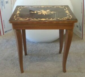 """Vintage Italian Music Box Inlaid Table With Storage Sewing Jewelry 18"""""""