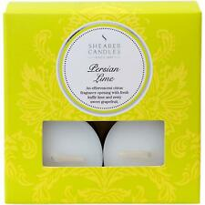Shearer Candles 8 Pack White Tealights in Box, Persian Lime - 5 Hours Burn Time