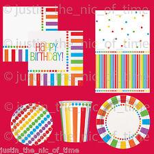 RAINBOW Birthday Colour Tableware Supplies Adults Children Kids BBQ Garden Party
