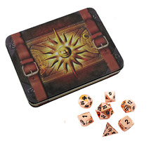 Cleric's Prayer Book with Copper Color with Black Numbering  Metal Dice