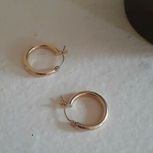 14K Pre-owned Vintage Yellow Gold 3mm Thick Polished Hinged Hoop Earrings 19mm