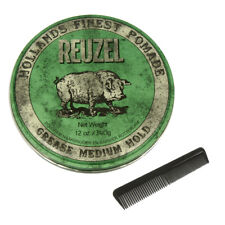 REUZEL GREEN Medium Hold Grease Pomade Hog Size 12Oz 340g Free Comb NEW