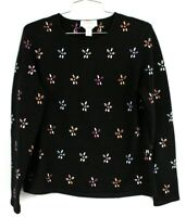 Talbots Pure Cashmere Pullover Sweater Women's M Black Floral Crew Neck