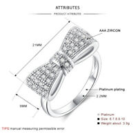 Women Charm 925 Silver White Sapphire Bow Ring Wedding Engagement Jewelry Gift