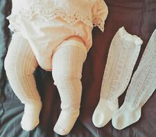 Girls Kid baby White knees Calf High Cotton long Socks Tights 0-36months 0-3yrs