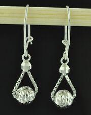 18k solid  white gold stylish  dangling  earrings diamond cut lever back  #1708