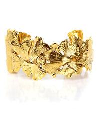 Aurelie Bidermann Tangerine Bracelet Cuff Yellow 18k Gold Plate Gingko Leaf Sign