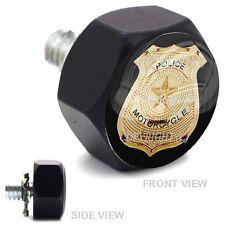 Vivid Black Billet Hex Air Cleaner Bolt Harley - GOLD POLICE BADGE - 167