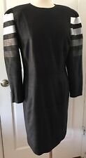 Vintage Louis Feraud 1980s Black White Long Sleeve Stripe Dress Silk US 10 UK 14