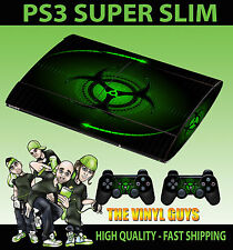 PLAYSTATION PS3 SUPER SLIM GREEN BIO HAZARD DANGER SKIN STICKER & 2 PAD SKIN