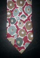 Sabatini Tie Abstract Floral Design Red White Green Brown NIB t1845