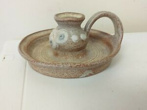 STONEWARE.. CANDLESTICK,..CANDLE CARRIER..WITH THUMB HOLD..TAPER....STUDIO