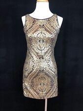 XOXO Gold Sequin BOHO Paisley Bodycon Dress Exposed Zipper Size 1/2 XS