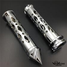 """Chrome Flame 22mm 7/8"""" Hand Grips For Honda CBR 600 F3 F4i 900 929 954 1000 RR"""