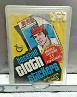1977 Topps Cloth Stickers Baseball Wax Pack Wrapper In Protector Holder