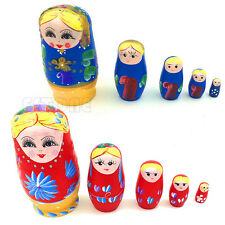 5Pcs Wooden Hand Painted Russian Nesting Dolls Babushka Matryoshka Gift Toy YWL