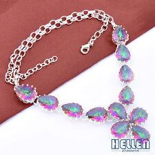 Huge Stunning Marquise Design Rainbow Fire Mystical Topaz Gems Silver Necklace