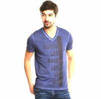 $95 Guess Men'S Blue Black V Neck Short Sleeve Logo Graphic Cotton Tee T Shirt M