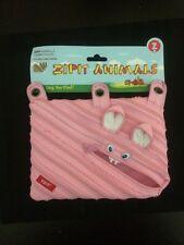 Zipit Animals 3 Ring Binder Pouch Pink Bunny Rabbit Fun One Long Zipper