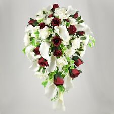Artificial Wedding Flowers Silk Brides Shower Bouquet Burgundy Ivory Calla Lily