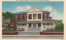 Home of Lodge No. 197 B.P.O. Elks in Roanoke VA Postcard
