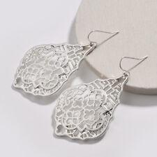 Women's Silver Gold Rose Gold Geometric Oval Filigree Cut Out Drop Earrings