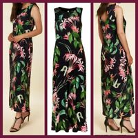 NEW Ex Wallis Floral Print Maxi Dress BLACK Summer Holiday Dress Size 8 - 20