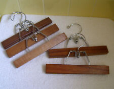 "Five (5) Wood Hangers Clamp Style Pants-Slacks-Skirts - 9"" Long"