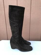 RARE RUSSELL AND BROMLEY LONDON BROWN SUEDE KNEE WEDGE BOOTS 38.5 US 7.5