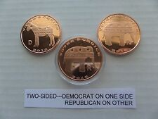VOTER'S CHOICE, DEMOCRAT/ REPUBLICAN 2016, ONE OUNCE .999 COPPER ROUNDS LOT OF 3