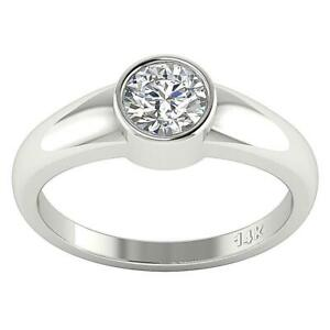 SI1 G 0.60 Ct Round Diamond Solitaire Engagement Ring Bezel Set 14K Solid Gold