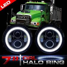 LED Headlamps Headlights with Halo Ring Low/High and DRL for MACK GRANITE CV713
