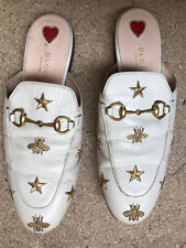 Gucci Flat Princetown Bee & Star Mule White Women Size 39