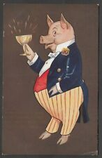 Postcard Anthropomorphic Pig in Dinner Jacket drinking champagne Toast comic