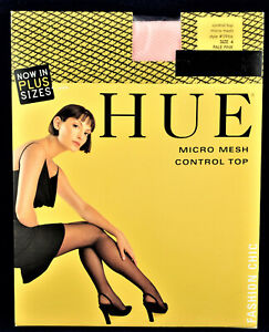 🔅HUE Pantyhose w/Model Micro Mesh Pale Pink Size 4   Made in Italy