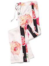 L NEW Victoria Secret VS black floral Satin SLEEP lounge PJ pajama pocket pant